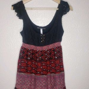 Free People Crochet Silk Babydoll Dress Red Black